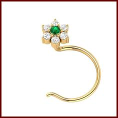 Ct I-J Diamond Emerald Gold Wedding Nose Ring Certified This is Hallmarked Gold Emerald Nose Stud . Indian Hand made Diamond Jewellery . Nose Pin Indian, Nose Stud, Nose Rings, Diamond Jewellery, Beautiful Body, Gold Wedding, Jewelry Stores, Emerald, Sapphire