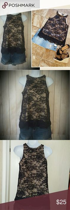 """Black Lace Layered Tank Overlay Stretchy Small Tan Gorgeous tan colored tank top with black lace overlay, still new with tags,  size small. It is stretchy. Laying flat and unstretched, it measures 16"""" across the bust, 24"""" long.   Smoke free home. I will gladly bundle items to give you a discount (the more you buy, the cheaper I can let everything go!). Many items can be added on for only $1.  MAKE AN OFFER! Rue 21 Tops Tank Tops"""