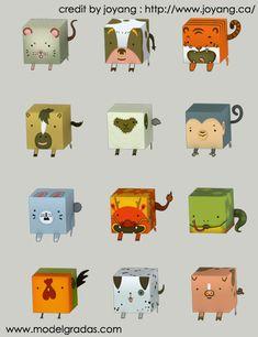 Chinese zodiac signs -  cardboard template www.Modelgradas.com