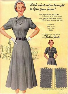 Fashion Frocks Fabric Sample Swatch: The versatile neckline, it buttons to fit your mood Seventies Fashion, 1940s Fashion, Timeless Fashion, Vintage Fashion, Club Fashion, 1940s Dresses, Vintage Dresses, Vintage Outfits, Vintage Clothing