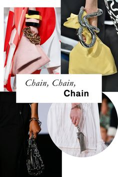 Delicate purses take on a tough new life when teamed with chunky chain hardware.