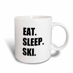 3dRose Eat Sleep Ski - skiing enthusiast passionate skier - sport black text, Ceramic Mug, 15-ounce