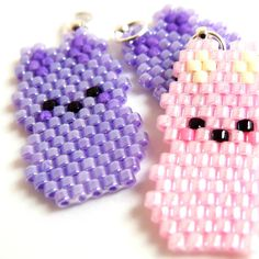 Purple Marshmallow Bunny Charm Pendant, Delica Seed Bead Easter Jewelry Component