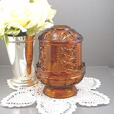 """Fairy Lamp by Indiana Glass Candle Holder Amber Color """"Stars and Bars"""" Pattern Vintage Circa 1960-70s Home Decor"""