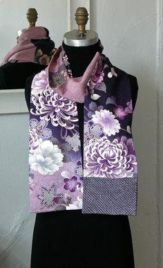Silk Kimono Scarf, Amazing Japanese Vintage versitile scarf, Vintage Yuzen-dyed fabric, Purple Purple