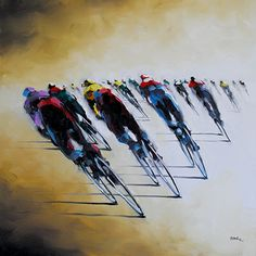 Bicycle Painting, Bicycle Art, Cycling Art, Cycling Bikes, Mini Paintings, Cyclists, Triathlon, Painting & Drawing, Sculptures
