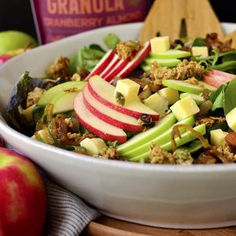 Apple Orchard Salad with Maple-Dijon Vinaigrette - Iowa Girl Eats Gluten Free Thanksgiving, Gluten Free Dinner, Thanksgiving Recipes, Cranberry Almond, Apple Orchard, Apple Recipes, Asian Recipes, Caramelized Onions, Gluten Free Recipes