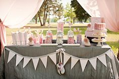 Sweet Sorrella pink and grey ballet dessert table.  featured on amy atlas