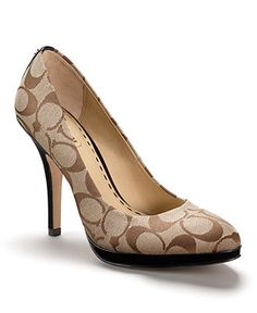 Coach Caya Heel A shapely, sophisticated platform pump in textured signature fabric with a touch of patent trim. Hot Shoes, Pump Shoes, Shoe Boots, Shoes Heels, Pumps, Stilettos, Divas, Coach Boots, Me Too Shoes