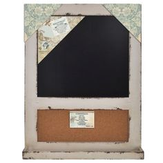 """Distressed Wood Cork Board & Chalk Bulletin Board 18""""x24"""" (Distressed Ivory) Home Office Collection,http://www.amazon.com/dp/B00H221SX2/ref=cm_sw_r_pi_dp_Yvdstb09ACCR78DY"""