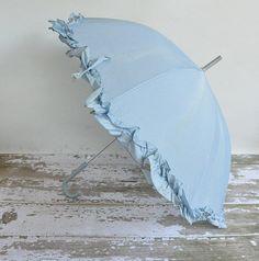Vintage 1960s baby blue umbrella