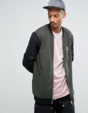 ASOS Longline Jersey Bomber Jacket With Contrast Sleeves