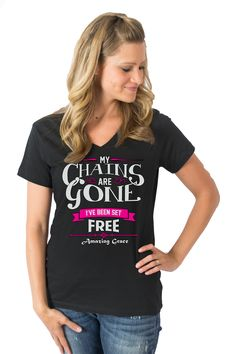My Chains Are Gone  V-Neck  (Black) on SonGear.com - Christian Shirts, Jewelry