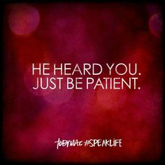 HE JUST HEARD YOU. JUST BE PATIENT.   TOBYMAC #SPEAKLIFE