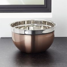 Crate & Barrel Copper Mixing Bowl 5qt (£16) ❤ liked on Polyvore featuring home, kitchen & dining, kitchen gadgets & tools, stacking mixing bowls, copper mixing bowl, serving bowl, nesting mixing bowls and nested mixing bowls