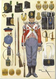 Wellington's Army (wearing the style uniform, most noticeably the Belgic-style shako) British Army Uniform, British Uniforms, British Soldier, Military Art, Military History, Military Uniforms, Rifles, Royal Marines, Commonwealth