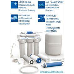 Sistema osmosi inversa con accumulo, rubinetto, uv senza pompa