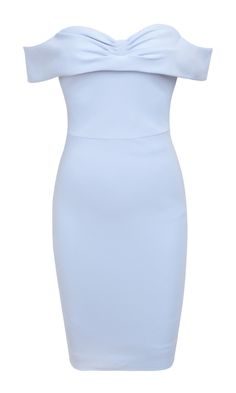Clothing : Pencil Dresses : 'Bellissa' Ice Blue Off the Shoulder Pencil Dress