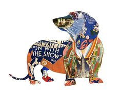 Clever dachshund collage by Peter Clark. I may do something like this with the Jr.Art class