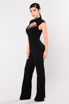 - Available in Black and Light Lavender - Sleeveless Jumpsuit - Mock Neck - Key Hole - V Neck - Zipper Back - 97% Polyester, 3% Spandex