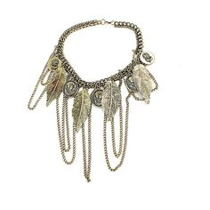 Tassel Charm Necklace With Feather Pendants (32 TND) ❤ liked on Polyvore featuring jewelry, necklaces, gold, pendants & necklaces, feather necklace, gold chain necklace, chunky chain necklace and gold necklaces