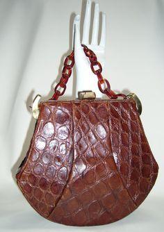 Vintage Alligator 40s Handbag with Lucite Chain