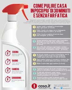 Come pulire casa velocemente senza fare fatica. Scopri tutti i trucchi nell'infografica di Casa.it