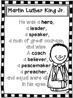 Martin Luther King Jr. poem FREEBIE. This poem is included in my MLK Jr. packet. The 41 page packet is common core aligned 41 and includes various fun and engaging reading & writing activities for k-3rd. Enjoy!
