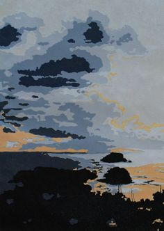 Sunset in St Barths original linocut print by Lisa VanMeter on Etsy, 90.00 - I like the colour pallette and the composition. S