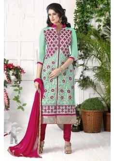 couleur verte georgette costume churidar lumière, - 85,00 €, #Robeindienne #Tenuepakistanaise #Robeindiennemariage #Shopkund