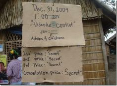 Videoke contest for adults and children.