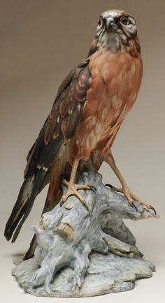 Bepi Tay (Italy 20th Century) Sculpture of a Red Tail Hawk  Bepi Tay of Florence, Italy is renown for the realistic and artistic rendering of birds in porcelain, and for the Eagles that he was commissioned to make for President Reagan in the 1980's.