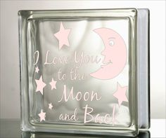 I love you to the moon and back Glass Block by VinylDecorBoutique