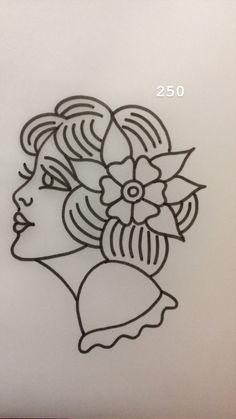 Tradi Women tattoo tattoo designs ideas männer männer ideen old school quotes sketches Flash Art Tattoos, Body Art Tattoos, Woman Tattoos, Tattoos For Women, Sleeve Tattoos, Traditional Tattoo Stencils, Traditional Tattoo Drawings, Traditional Tattoo Old School, Traditional Tattoo Outline