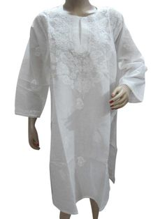 Yoga Boho Chikan Tunic Top White Long Tunic Embroidered Paisley Kurti Top M Mogul Interior,http://www.amazon.com/dp/B00E7LGLZG/ref=cm_sw_r_pi_dp_-Jyesb07ENQ7JC1K