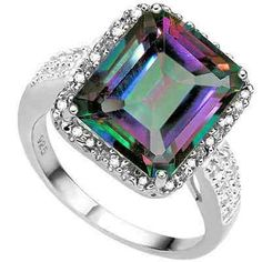 ELEGANT 5.60 CT MYSTIC TOPAZ & 2 PCS WHITE DIAMOND 0.925 STERLING SILVER W/ PLATINUM RING