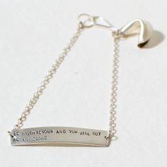 sterling silver fortune cookie bracelet  be by christinakober, $68.00