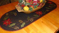 quilt runner & wooden bowl