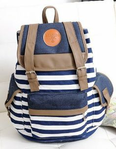 "Amazon.com: Tobey Black Canvas Backpack School Bag Super Cute Stripe for School Laptop Bag Waterproof Blue, Comes with ""eYourlife2012"" store..."