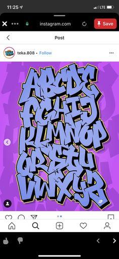 Graffiti Lettering Alphabet, Tattoo Fonts Alphabet, Graffiti Font, Graffiti Drawing, Doodle Lettering, Murals Street Art, Street Art Graffiti, Graphic Design Fonts, Lettering Design