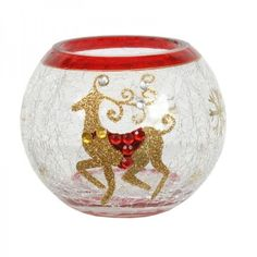 Village Candle HAND PAINTED CHRISTMAS REINDEER GLOBE 10CM