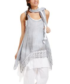 Loving this Couleur Lin Gray Layered Linen Sidetail Tunic & Scarf on #zulily! #zulilyfinds