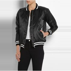 Rank & Style Top Ten Lists | Zoe Karssen Leather-paneled satin bomber jacket #rankandstyle #ateam #fallfashion