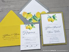 Lemons Botanical Wedding Invitation Sample | Flat or Pocket Fold Style by ImpressInk on Etsy