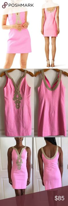"Lily Pulitzer Pink Pout Emery Shift Dress Pink and gold crepe (100% Polyester). Sleeveless. V-neckline. Shift bodice. Hidden back zipper with hook-and-eye closure. Fully lined. Length 35"" , pit to pit 15"", across waist 14"", across hips 17"" Lilly Pulitzer Dresses Mini"