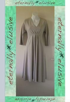 By WALL Of LONDON Stone Lagenlook Draped Pima Cotton Stretch Jersey Dress Size L  01.20