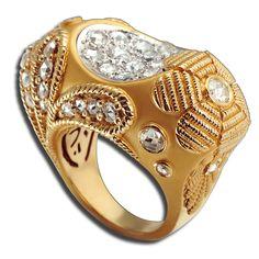 #Sortija Montera en #Oro Amarillo y Blanco con #Diamantes Talla Rosa #Carreraycarrera #Fashion #Moda #Trendy #Ring #Anillo #Gold #Diamonds #Joyas #Jewelry