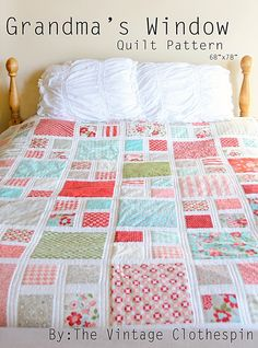 Grandma's Window Quilt Pattern / PDF by TheVintageClothespin More
