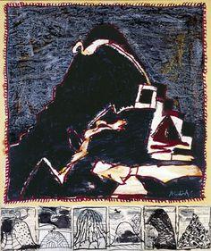 Pierre Alechinsky, Terril VIII, 2006, acrylique et encre avec prédelle Basquiat, Art Graphique, Les Oeuvres, Painting & Drawing, Contemporary Art, Black And White, Drawings, Illustration, Journaling