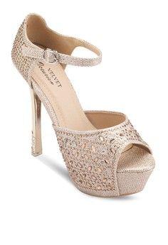 Occasion Bejewelled High Metallic Heels from Velvet in beige_1